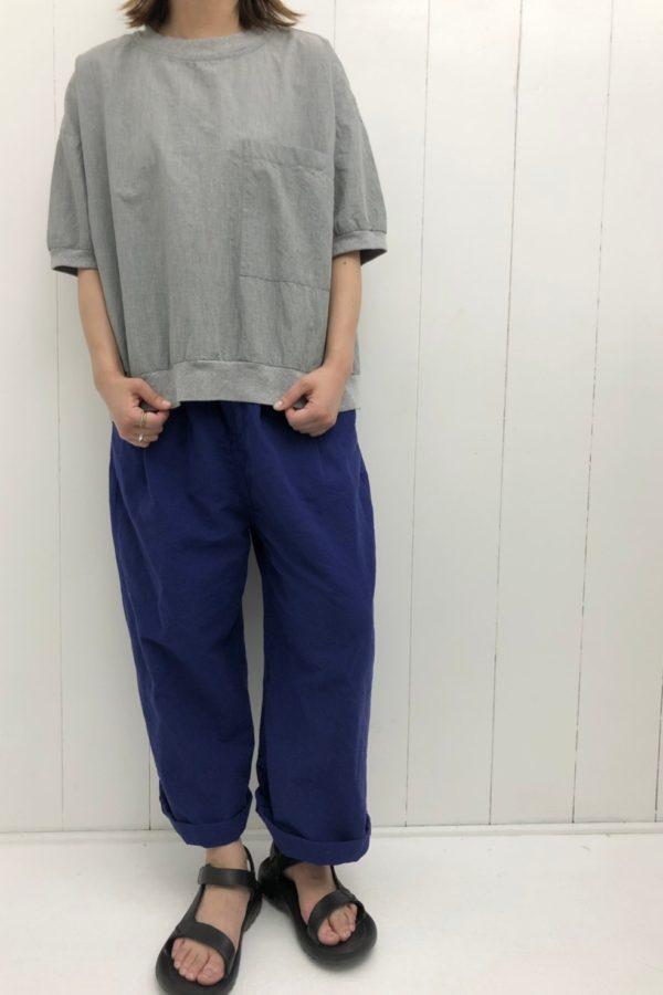 5分袖ビッグポケットワイドプルオーバー × ストンイージーパンツ style