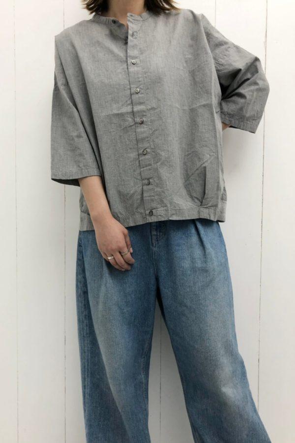 7分袖コクーンシャツ × デニム ワイドタックパンツ style