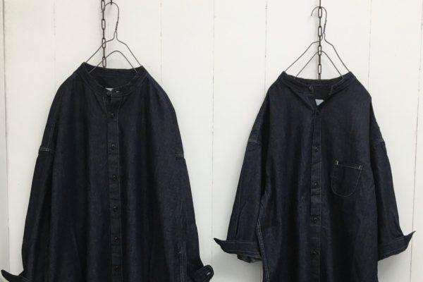6oz デニム スタンドカラー ワイドシャツワンピース