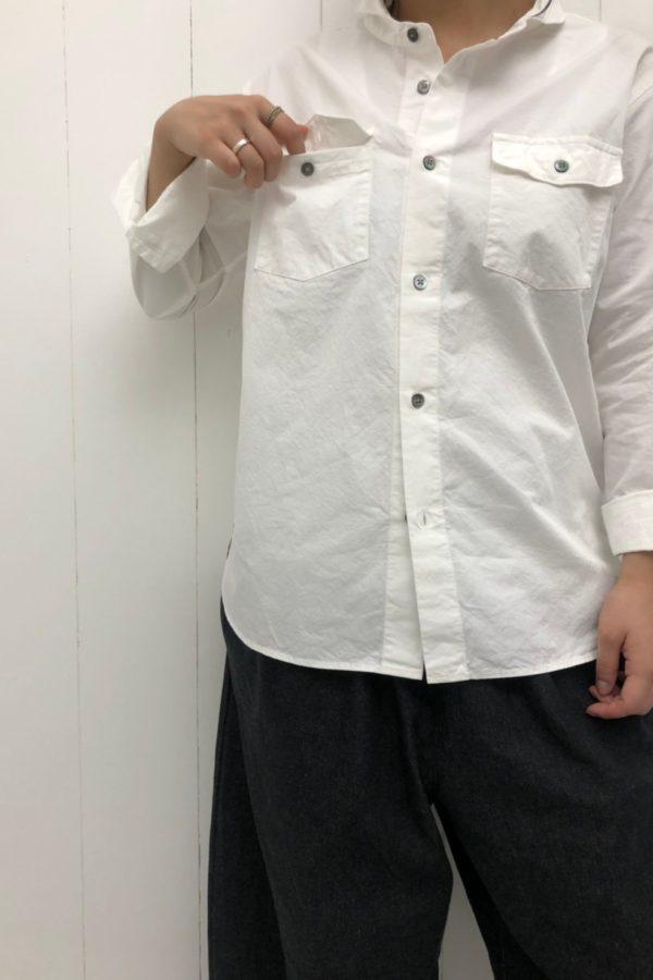 ダブルポケットシャツ × DENIM VOLUME PANTS style