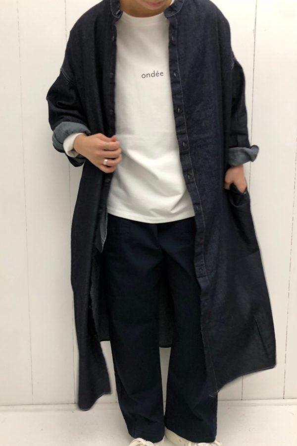 デニム ワイドシャツワンピース × シェフパンツ style