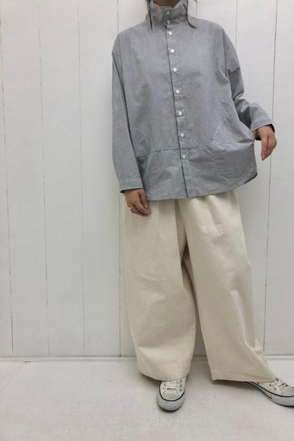 ブロード ハイカラーシャツ × DENIM VOLUME PANTS style