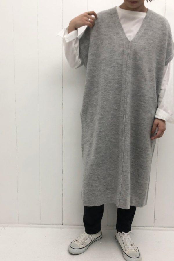 縮絨ニット Vネックワンピース × ブロード 切替ロングTee style